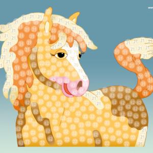 Bastelvorlage Pferd Trendy Mosaic Horse